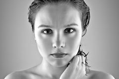 Black and white portrait of beautiful girl Royalty Free Stock Photography