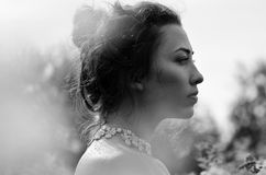 Black and white portrait of a beautiful girl Royalty Free Stock Photos