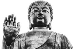 Black and white portrait of big buddha Royalty Free Stock Photos