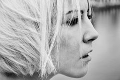 Black-and-white portrait of a blond woman Royalty Free Stock Photography