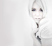 Black-and-white portrait of a blond woman Royalty Free Stock Images