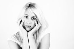 Black and white portrait of blonde girls Royalty Free Stock Photography