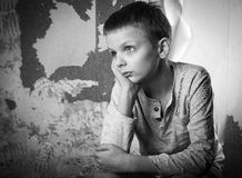 Black and white portrait of a boy Stock Photos