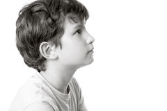 Black and white portrait of a boy in profile Royalty Free Stock Photo