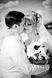 Black and white portrait of bride and groom Stock Image