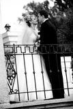 Black and white portrait of bride and groom looking at each other Royalty Free Stock Photo