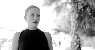 Black and White Portrait of Business Woman stock video footage