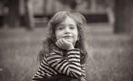 Black and white portrait of cute little girl Royalty Free Stock Photography