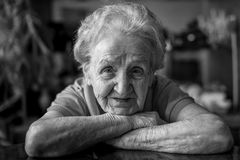 Black and white portrait of an elderly woman. Stock Photography