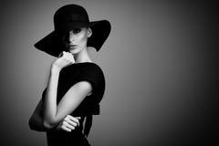 Black and white portrait of elegant woman stock photo
