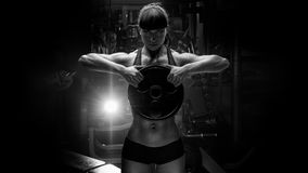 Black and white portrait of fit power athletic confident young w Royalty Free Stock Photos