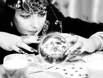 Black and white portrait of fortune-teller stock photography