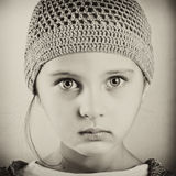 Black and white portrait of a girl. Retro with grain added Stock Photo