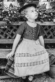 Black and white portrait of a girl in a dirndl Royalty Free Stock Photos