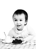 Black-and-white portrait of girl at the table Royalty Free Stock Image