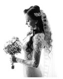Black and white portrait of gracious bride Royalty Free Stock Images