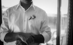Black and white portrait of groom Royalty Free Stock Images