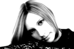 Black & White Portrait With High Contrast. Black & white portrait of female done with high contrast effect stock photos