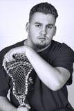 Black and White Portrait  Lacrosse Player Stock Photo