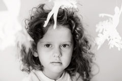 Black and white portrait of little girl Stock Photos