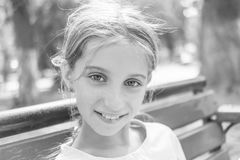 Black and white portrait of little girl Royalty Free Stock Photos