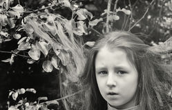 Black-and-white portrait of the  little girl Stock Photography