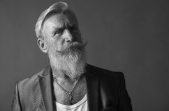 Black and White Portrait of a man with beard Royalty Free Stock Images