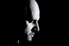 Black and white portrait of man, godfather-like character. Royalty Free Stock Photos