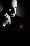 Black and white portrait of man, godfather-like character. Stock Photography