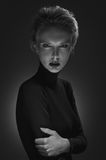 Black and white portrait of a mysterious blonde. Stock Image