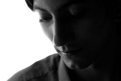 Black-and-white portrait of a sad man Royalty Free Stock Photos
