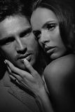 Black&white portrait of sensual couple Royalty Free Stock Image
