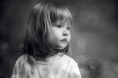 Black and white portrait of a serious little girl Stock Photography