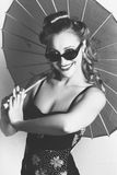 Black And White Dancer Holding Vintage Umbrella Stock Image