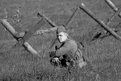 Black and white portrait of a soldier-reenactor Stock Images