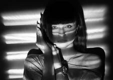 Black & white portrait of srius girl. Stock Image