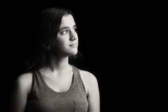 Black and white portrait of a teenage girl Royalty Free Stock Photo