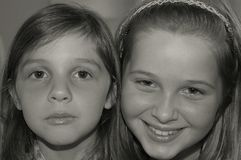 Black & white portrait two young girls Stock Photos