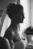 Black and white portrait of young beautiful bride at home Royalty Free Stock Images