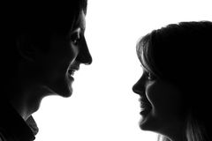 Black and white portrait of a young couple in love royalty free stock photo