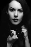 Black and white portrait of young lady Royalty Free Stock Photos
