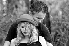 Black and white portrait young loving intimate couple Stock Image