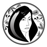 Portrait of young woman with floral motives in circle vector illustration