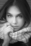 Black and white portrait. Royalty Free Stock Photo