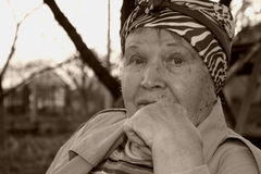 Black and white portrat of old-age woman Stock Image