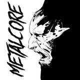 Black and white poster of the album metacore and face of zombie