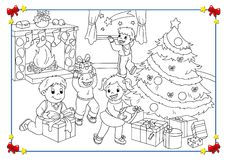 Black and white poster of Christmas vector illustration