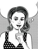 Black and white poster in comic art style of an attractive girl  holds her index finger near her lips. Beautiful retro style woman wants to keep a secret Royalty Free Stock Image