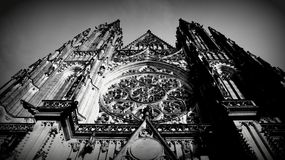 Black & White Prague St. Vitus Cathedral Architecture History Czech Republic Europe stock photography
