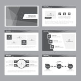 Black white presentation template Infographic elements flat design set for brochure flyer leaflet marketing Stock Photos